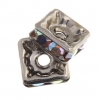 Rhinestone Square Rondelle (Flat) 6X6mm Crystal Aurora Borealis/ruthenium (Antique Silver)